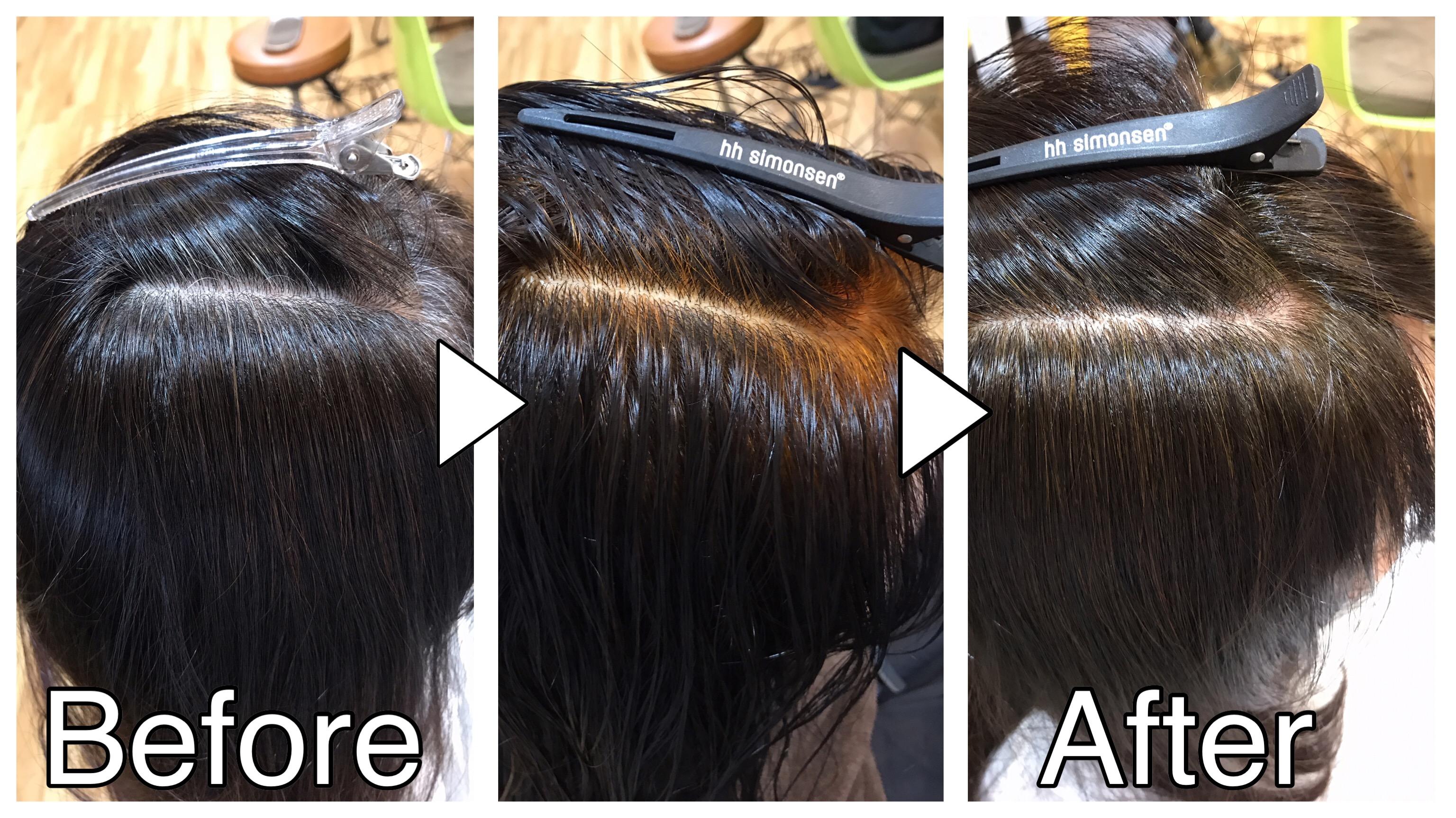 ヘナカラー(ハナヘナ)で白髪染めをしたお客様のビフォーアフター画像
