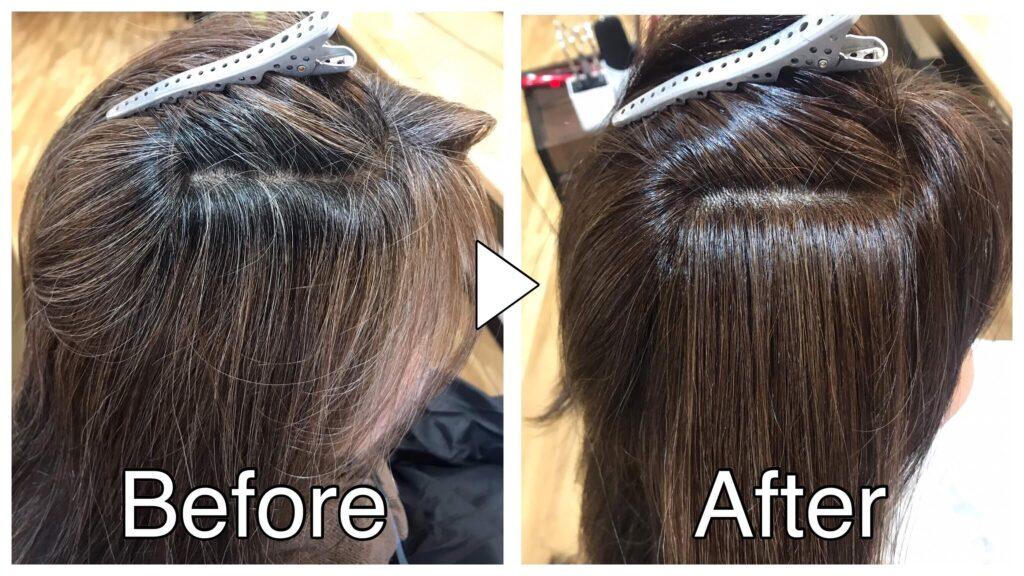 ノンジアミンカラーで白髪を染める前と後の比較画像
