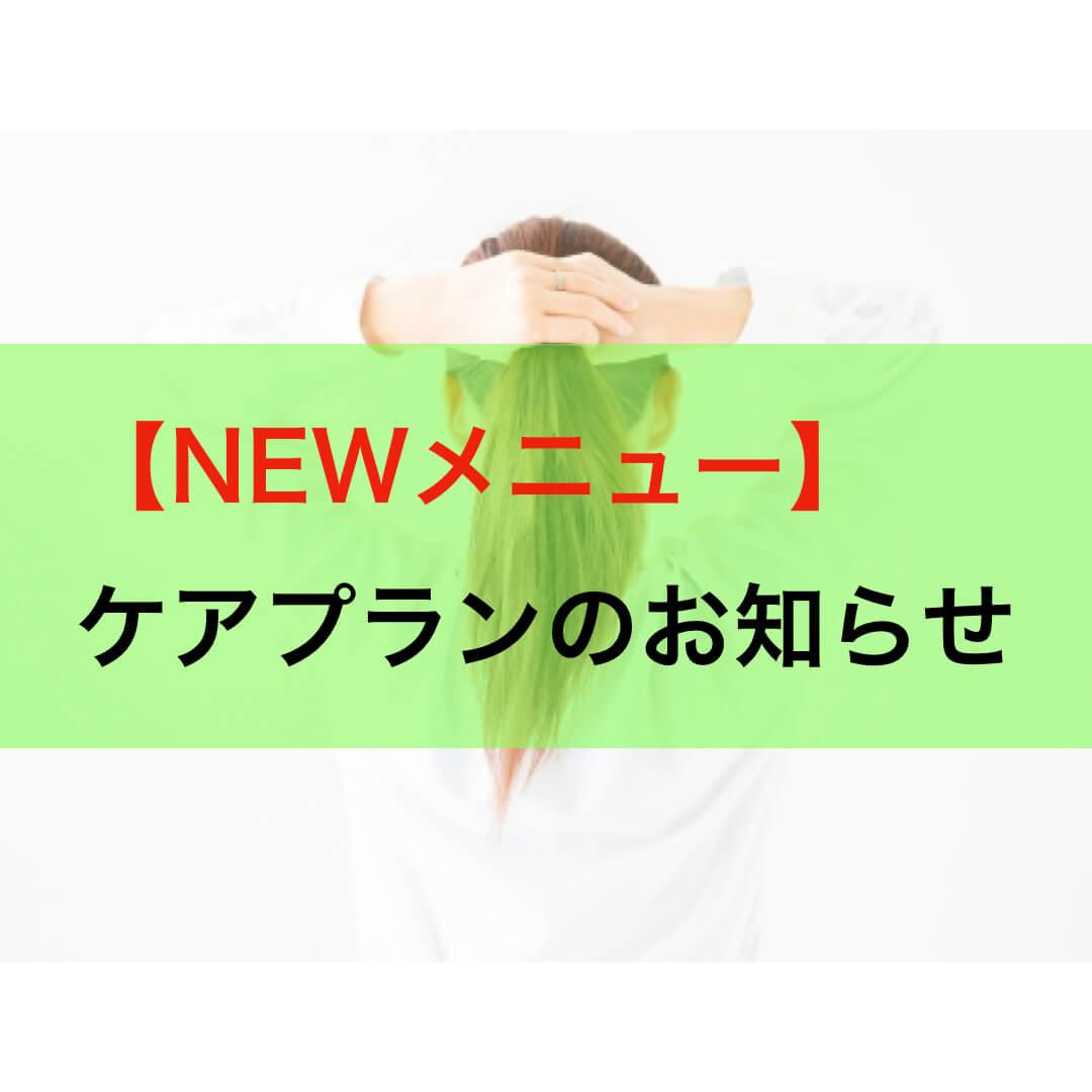 【NEWメニュー】ケアプランのお知らせ
